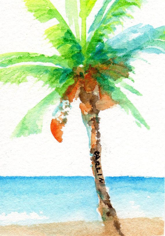Original Watercolor Painting Coconut Palm Tree By