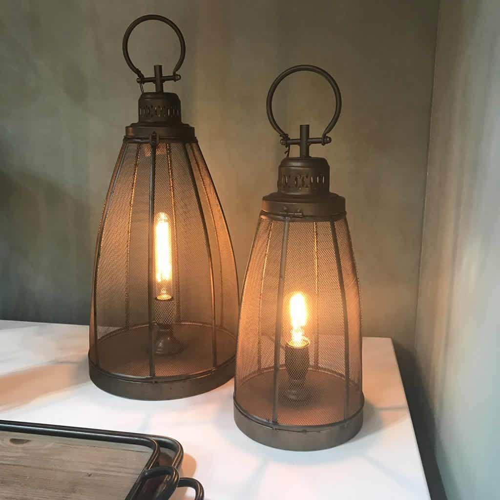 Dark Bronze Mesh Lantern Style Table Lamp 2 Sizes Lighting Table Lamp Wooden Table Lamps Lanterns