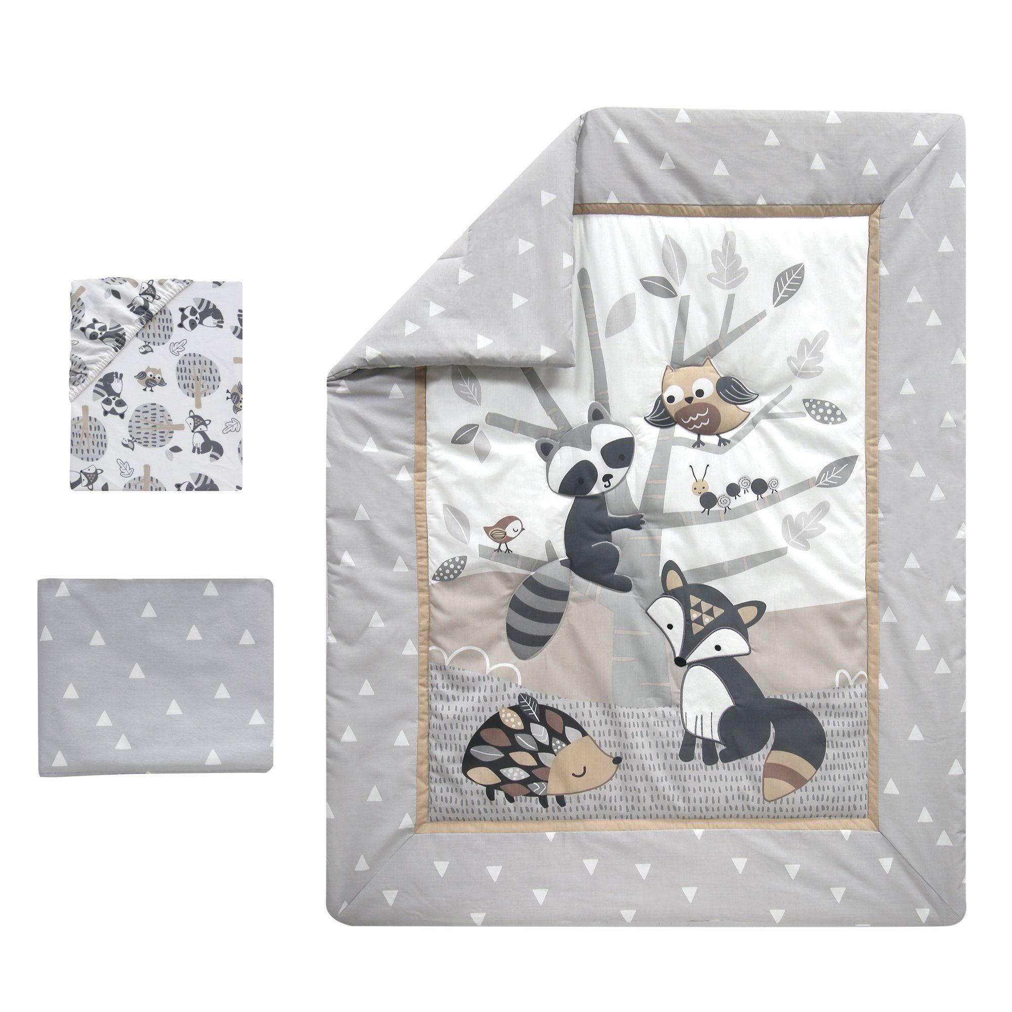 Little Rascals Gray Taupe White Woodland Animals And Tree