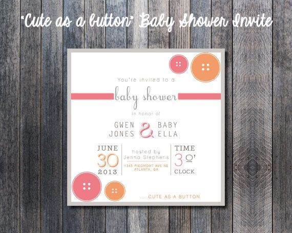 """Cute as a Button"" Modern Baby Shower Invitation"