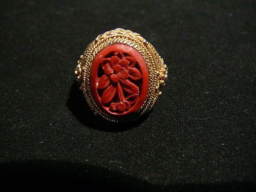 $199.00 vintage cinnabar ring-ebay