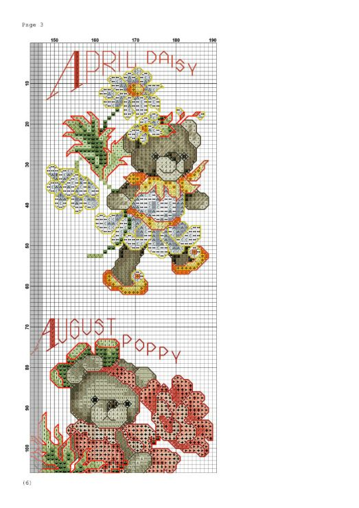 Teddy bear flowers months cross stitch 3 | CROSS STITCH: DAYS MONTHS ...