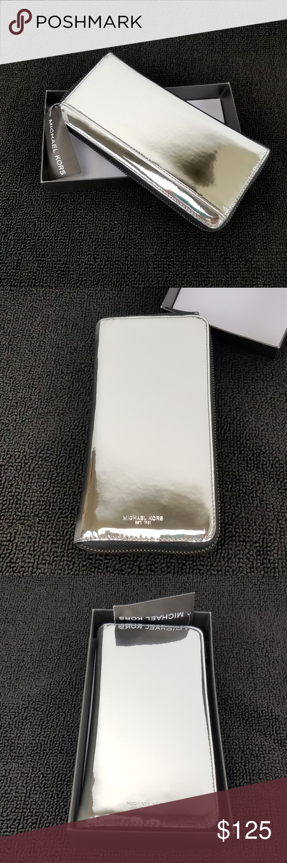ef404b3898d2 Michael Kors Warren Long Wallet Mirror Metallic Michael Kors Warren Mirror  Metallic Continental Zip Around /