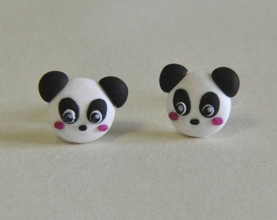 Panda earrings little kawaii pandas pair available for Lps lamiere forate