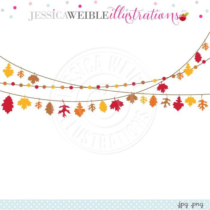 Autumn Leaf Garland Digital Clipart - JW Illustrations | 가을