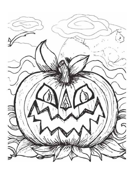 Need a Halloween Scary Pumpkin Coloring Page? Here\'s a free template ...