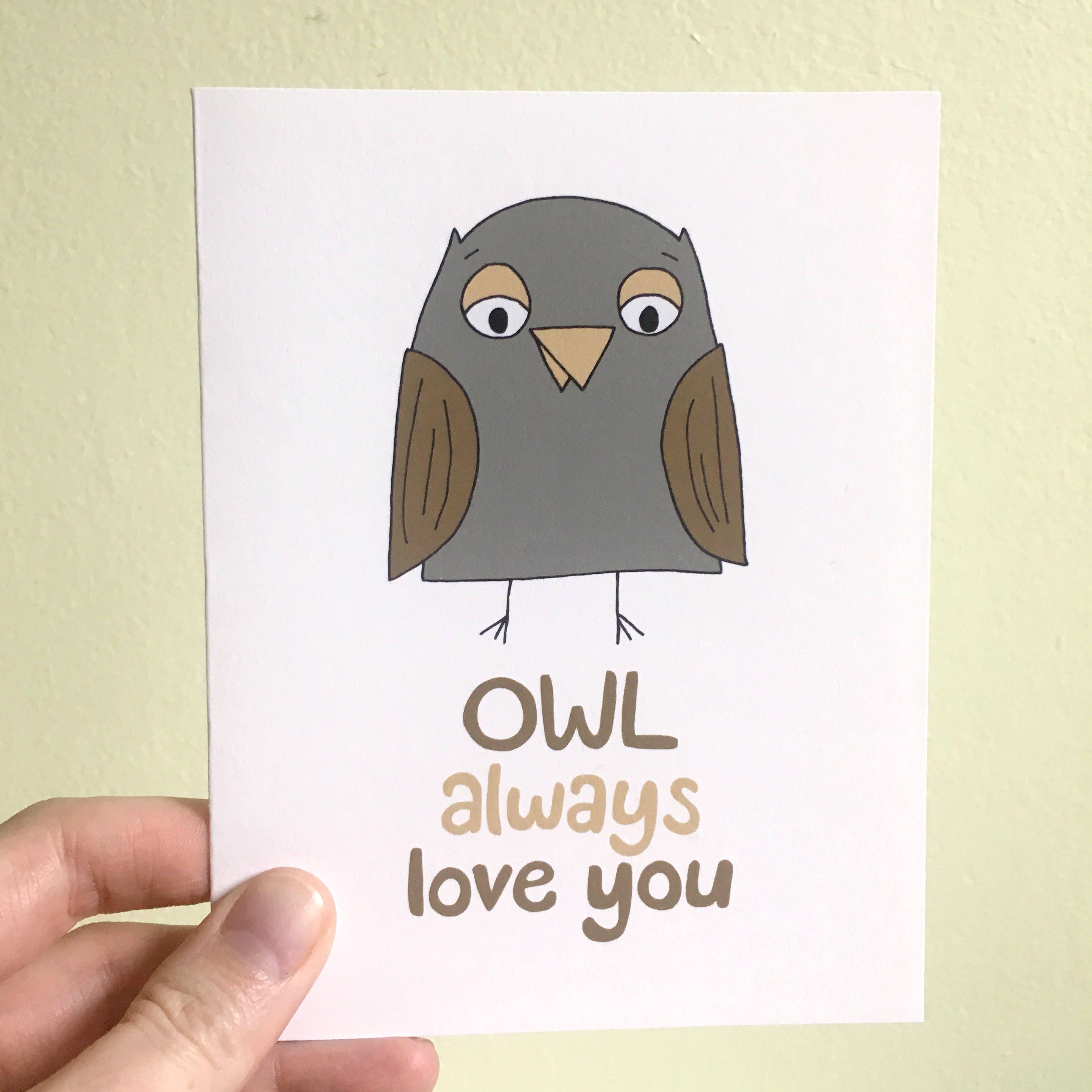 Cute Greeting Card Owl Always Love You Love You Love Card