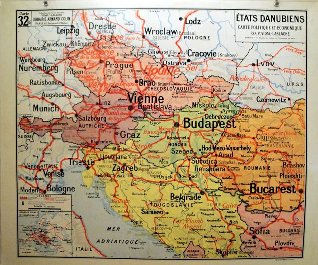 Vintage Map Of Danube Valley Viena Budapest Belgrade Bucurest - Vintage budapest map