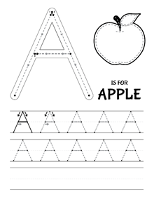 A is for Apple - Tracing worksheet // La letra \