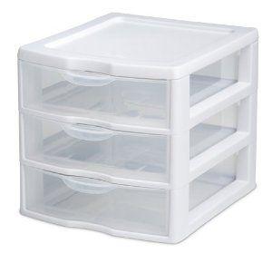 Amazon Com Sterilite  Clear View Mini  Drawer Organizer With White Frame