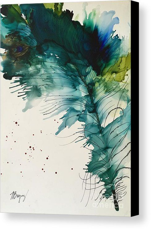Fancy Feather Canvas Print / Canvas Art by Marcia Breznay #alcoholinkcrafts