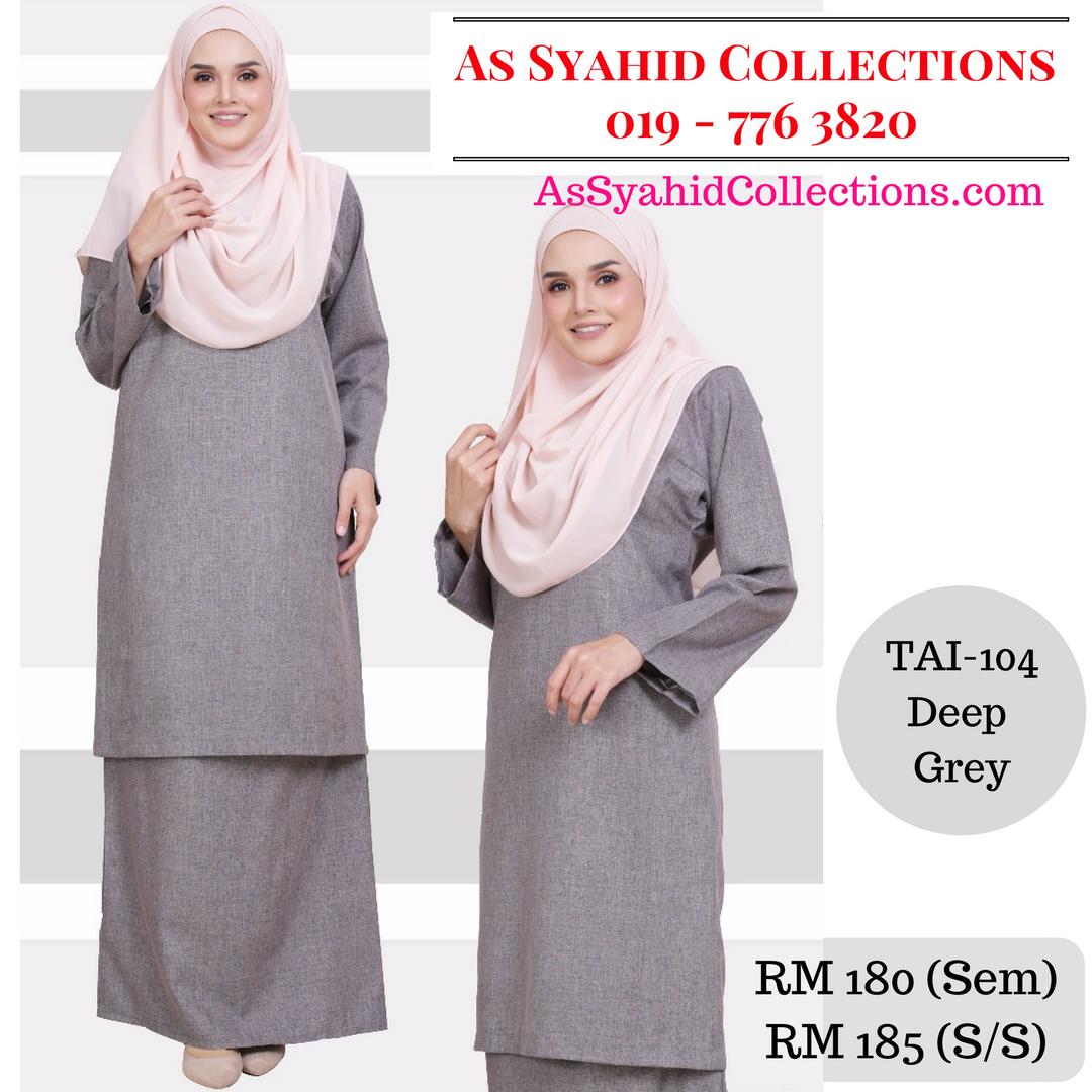 Baju Kurung Johor Warna Pastel Deep Grey Kelabu Tai 104