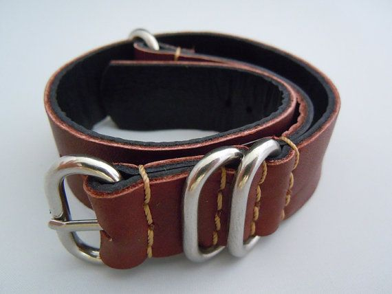 Handmade Brown Leather NATO strap