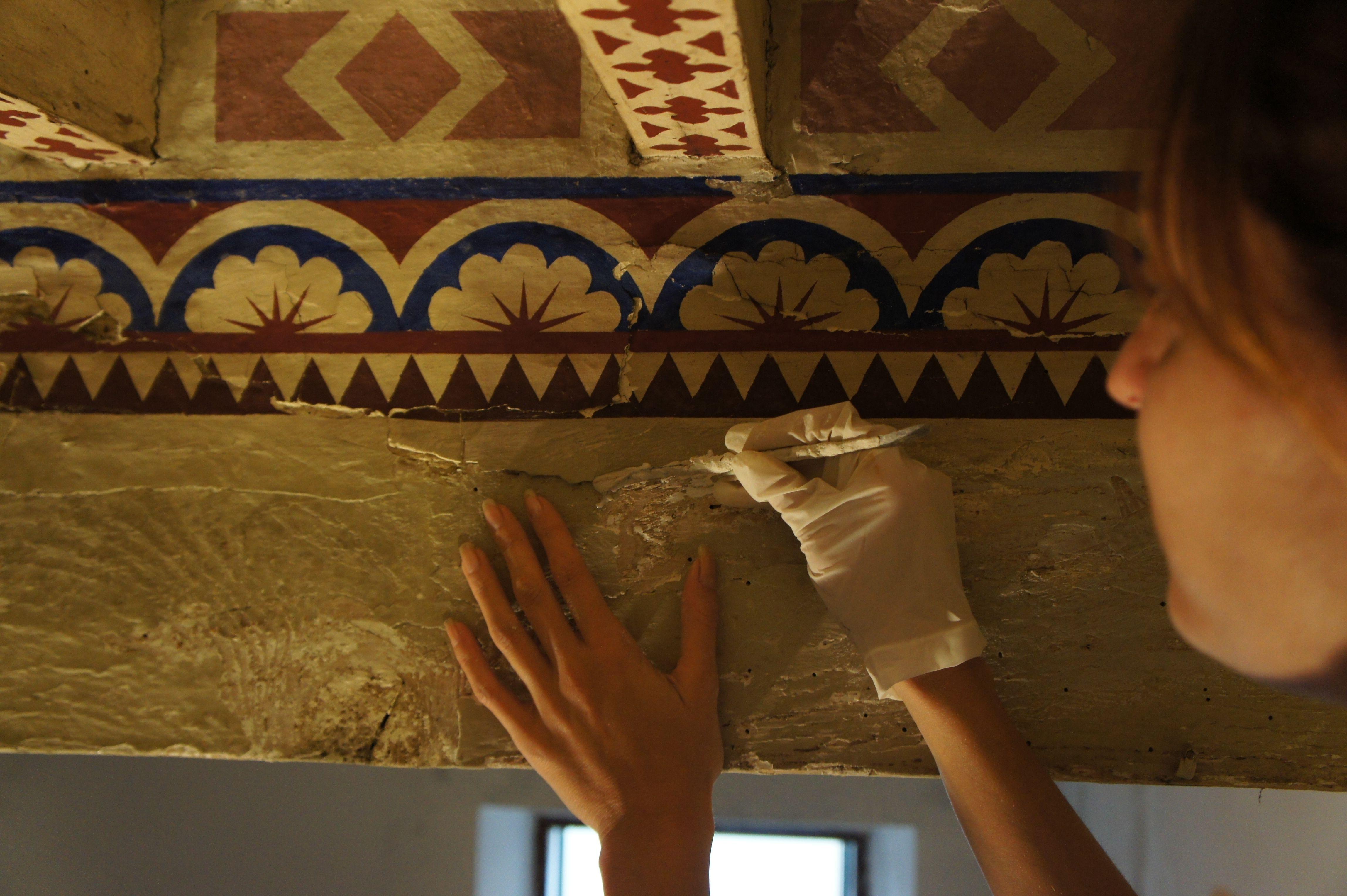 restauro soffitto a cassettoni dipinto Cassettoni