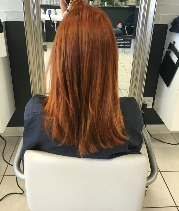 Great gold/red hair color using Wella! 7/34 , 6/34 , 7/4 20 volume! Glazed with Wella relights /34 13 volume