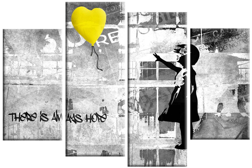 banksy yellow grey canvas girl with balloon wall art panel picture