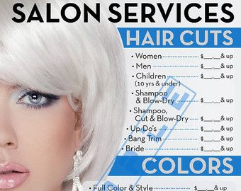 Elegant Name Hair Stylist or Barber Services Menu / Salon Price ...