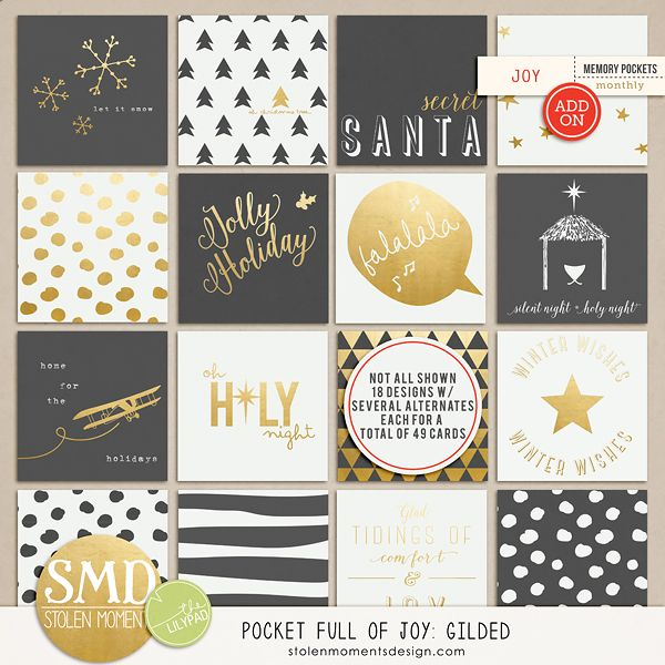 The Lilypad :: Journal Cards :: Pocket Full of Joy {Gilded}