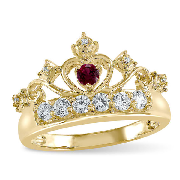Mother S 3 0mm Birthstone And Cubic Zirconia Crown Ring By