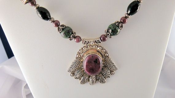 Ruby Zoisite Sterling Silver Pendant and Beads by JulesByBetsy, $250.00
