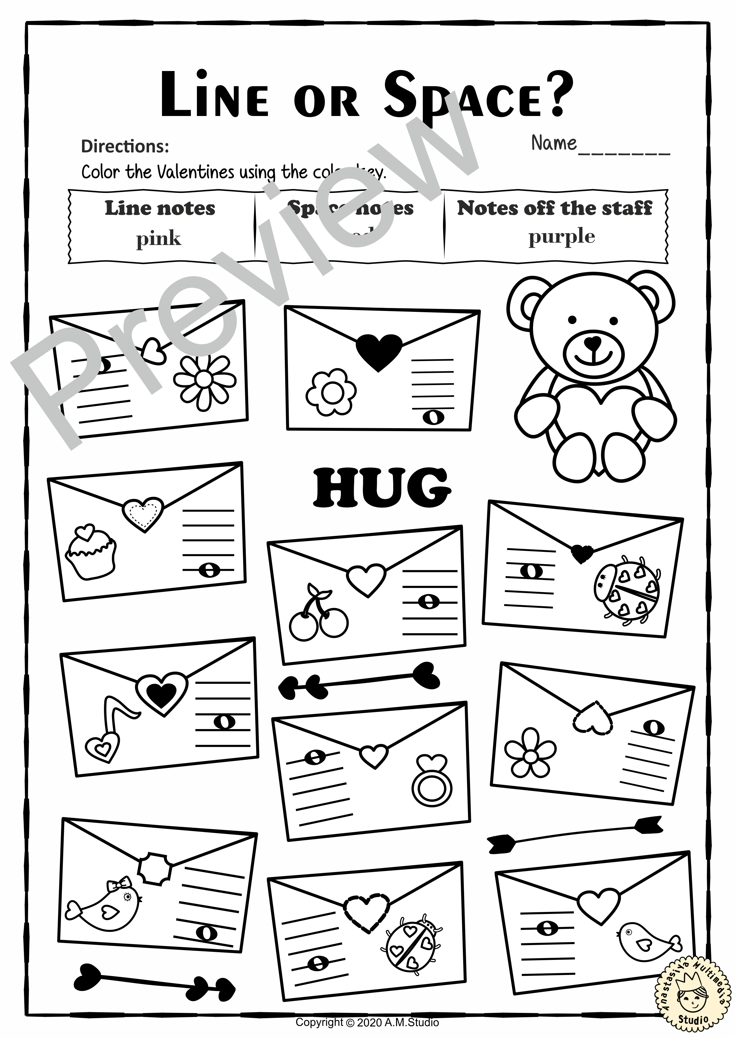 Valentine S Day Bass Clef Note Reading Worksheets