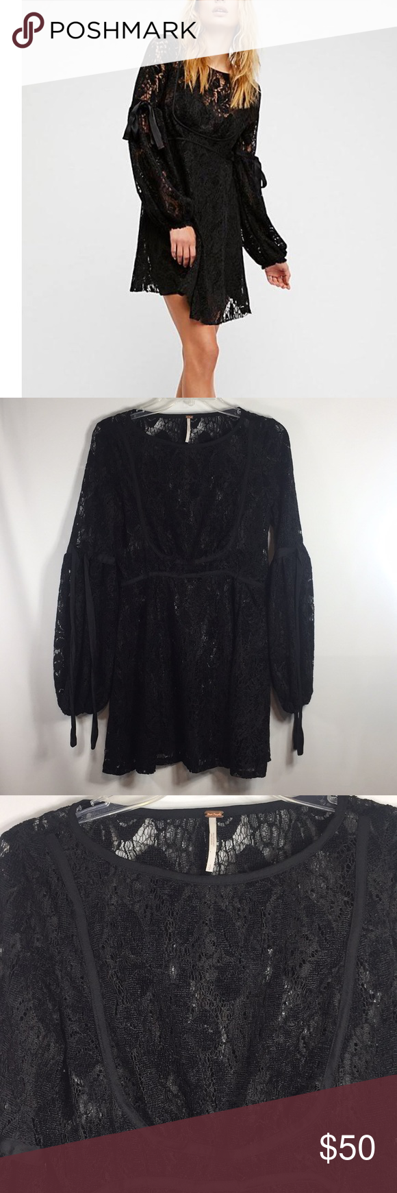 310472d1e756 Free People Ruby Crochet Lace Mini Dress Brand new with tags Women s Size  Small Color Black
