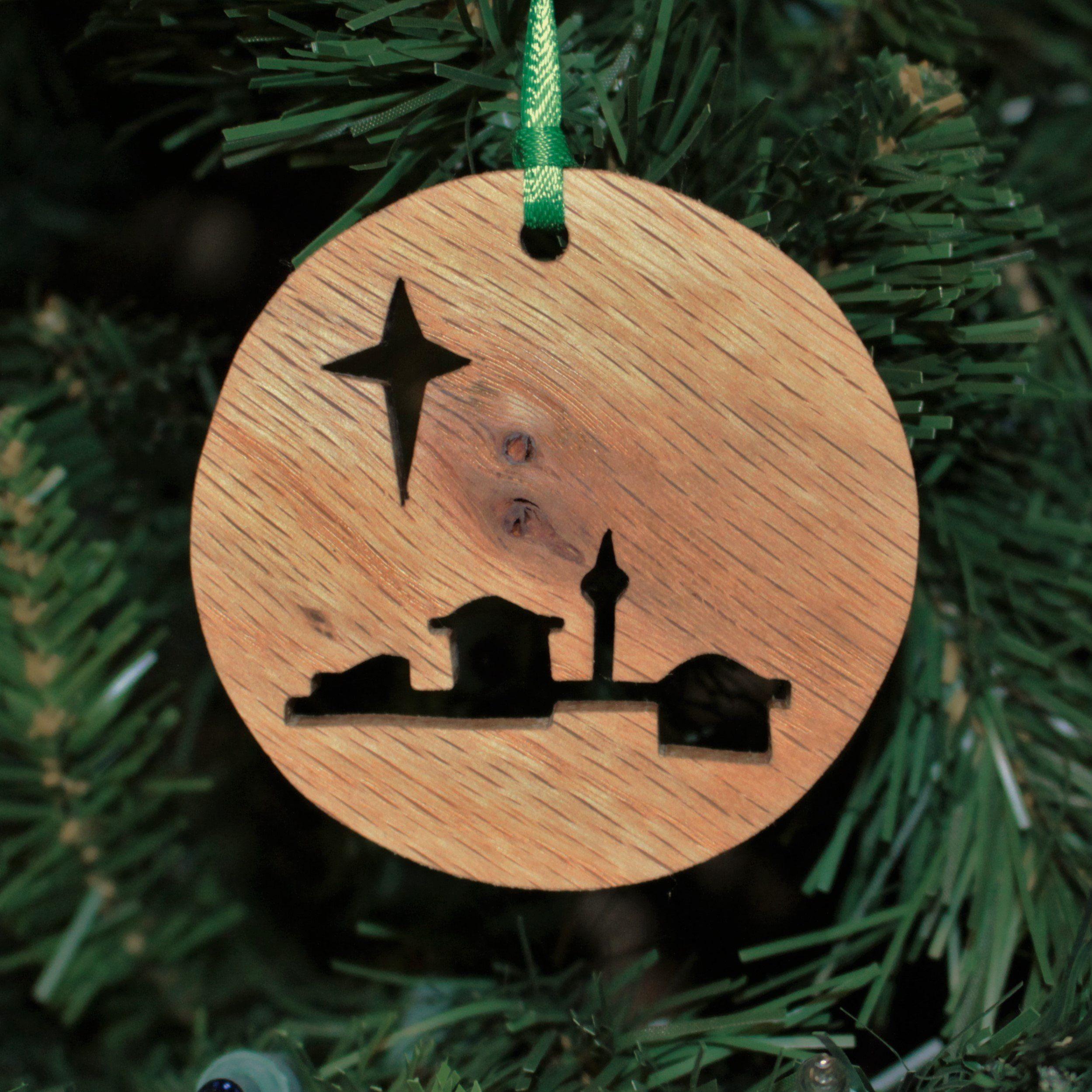 Ornament Bethlehem Oak Etsy In 2021 Wood Christmas Decorations Wood Christmas Ornaments Christmas Wood Crafts