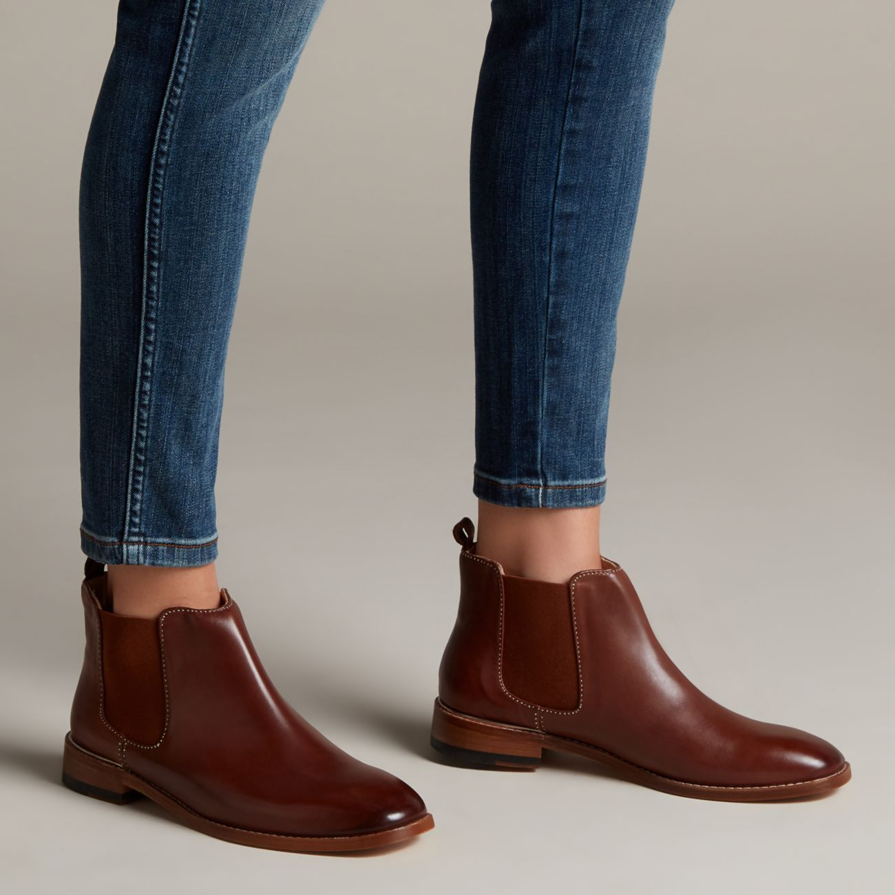 Tan leather ankle boots, Clarks shoes