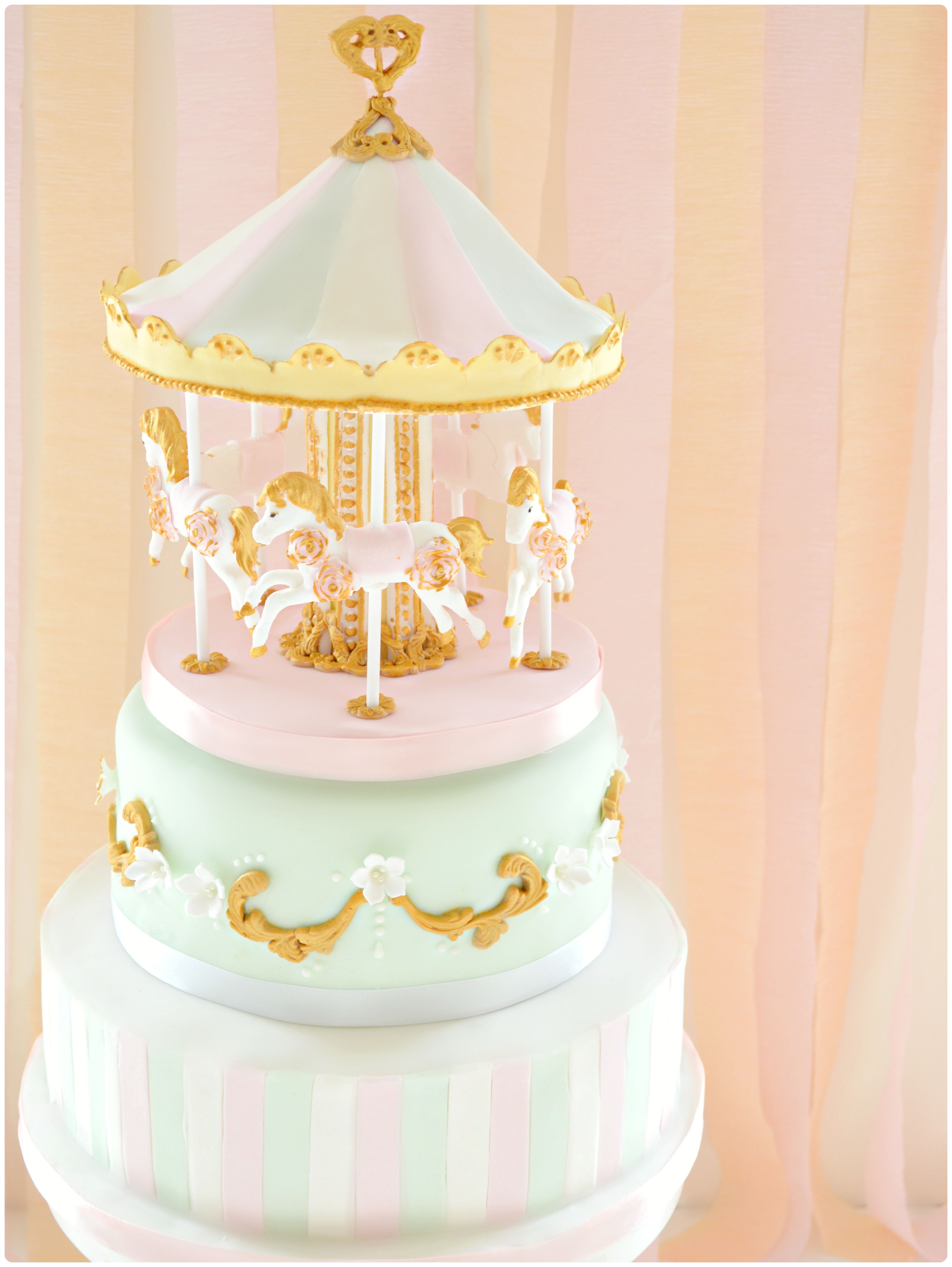2 Tiers Pink And Mint Carousel Birthday Cake Cherie Kelly London