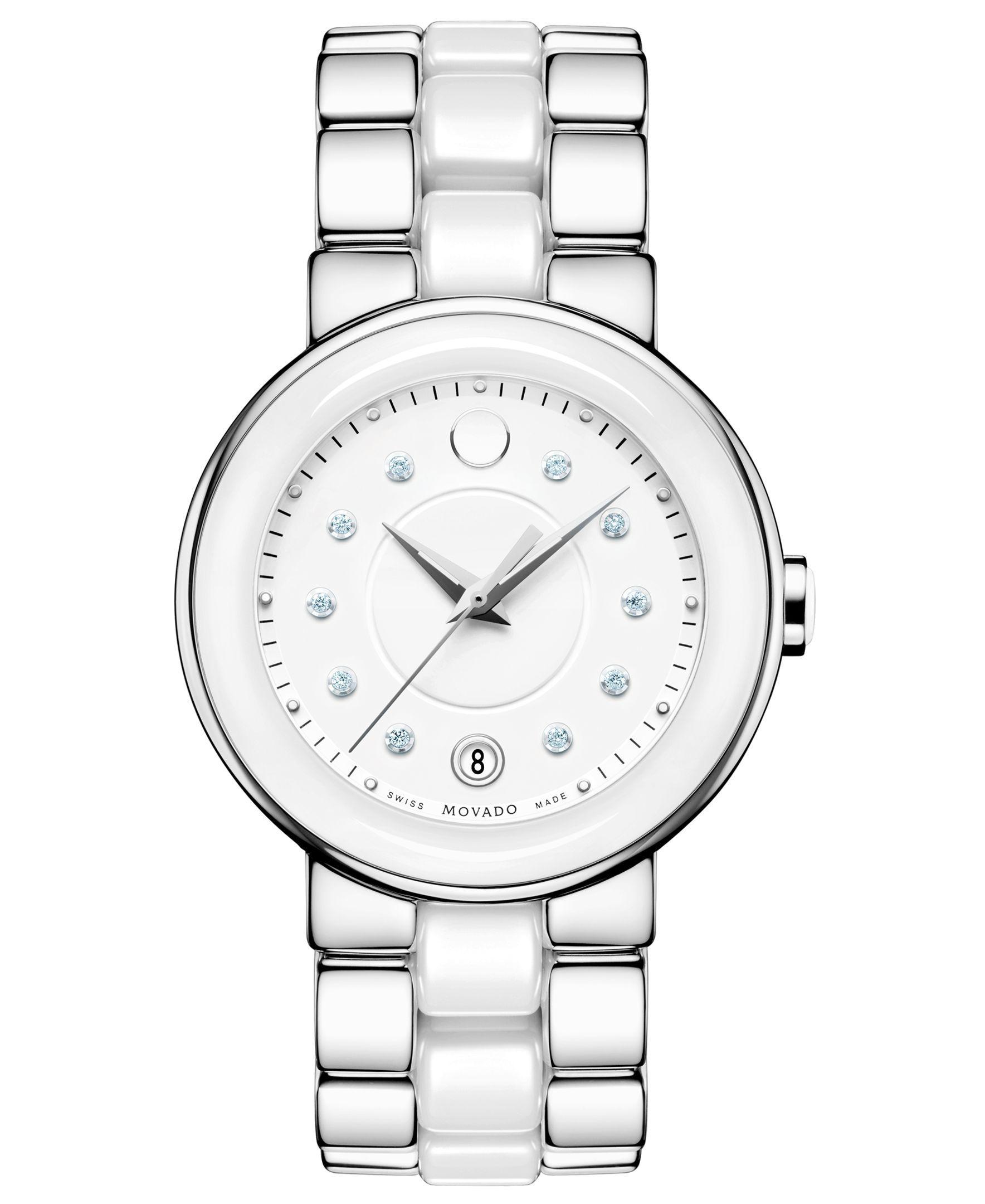 3f3da1ef0 Movado Women's Swiss Cerena Diamond Accent White Ceramic and Stainless Steel  Bracelet Watch 36mm 606540