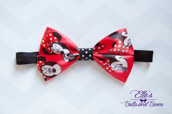 Handmade Minnie Mouse Boutique Bow with Black by EllesBellsandBows