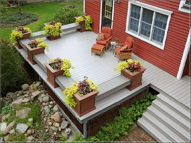 Deck planter boxes bench plans decks pinterest bench for Deck garden box designs