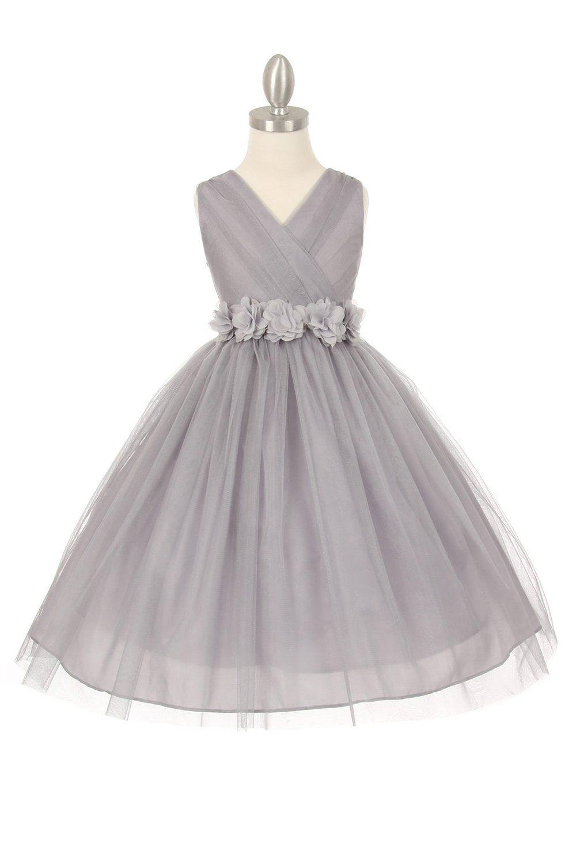d1f8f2bcd55 Silver Navy Blue Tulle V-Neck with Removable Floral Sash Flower Girl Dress