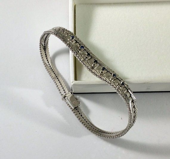 19 cm bracelet Silver 835 sapphire Vintage Noble 50s SA370 19 cm bracelet Silver 835 sapphire Vintage Noble 50s SA370