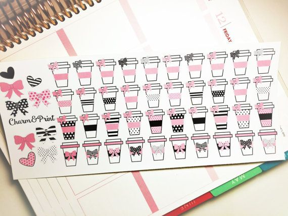 Cute Coffee Cup Planner Stickers / Pink & Black / Erin Condren / Kikki K / FiloFax / 40 Count