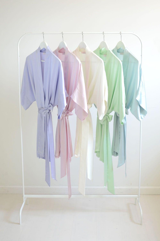 a21b5c0640 Image of Samantha bridal silk kimono robe bridesmaids robes in Spring  pastel colors - style 300
