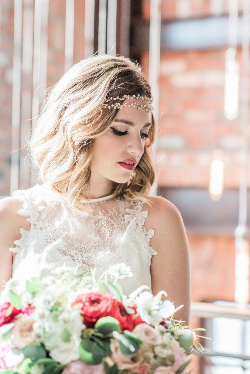 Bride in s headband Wedding Hairstyles for Short Hair