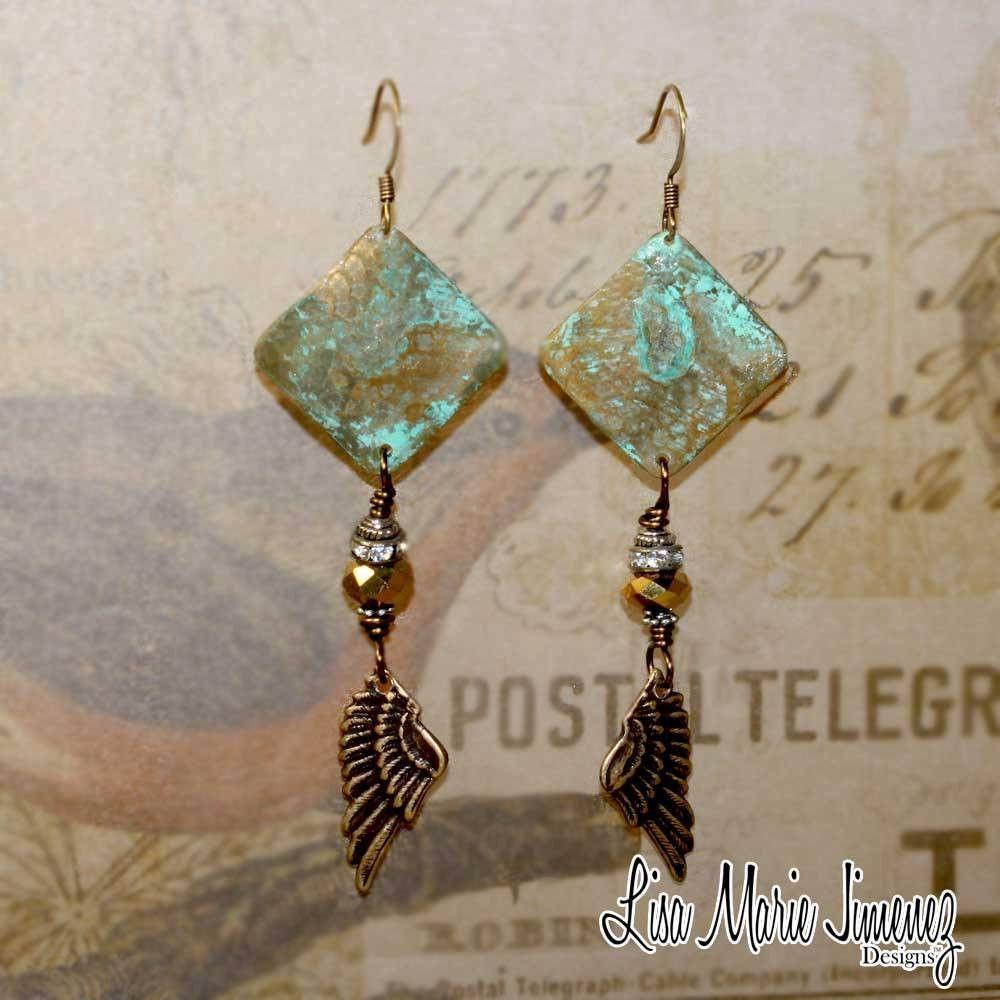 Bohemian Green Patina Angel Wing Earrings
