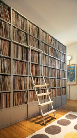 Record Collection Shelves I Actually Know Of Someone Who Has One That Looks Just Like This Yes Albums Record Room Vinyl Records Vinyl Record Shelf