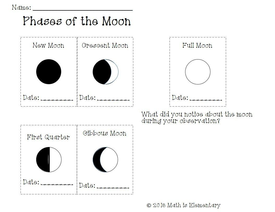 Moon Phases Worksheet Answers Drawing Moon Phases