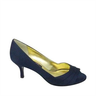 Navy Blue Low Heel Shoes - Navy Blue Peep Toe Shoes - Nina Shoes ...