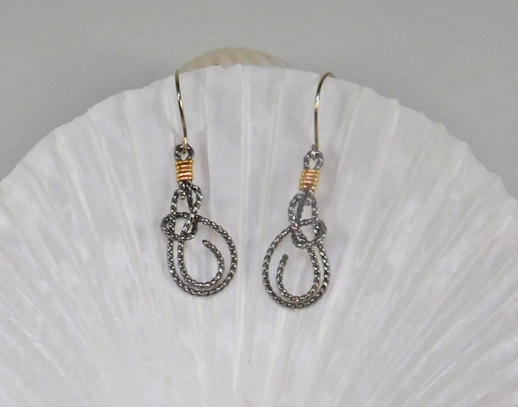 Sterling Silver Rope Bowline Knot Earrings with 14k Solid