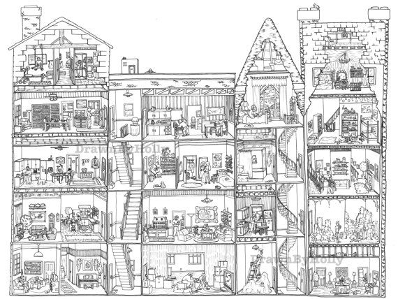 Apartment Building Coloring Picture
