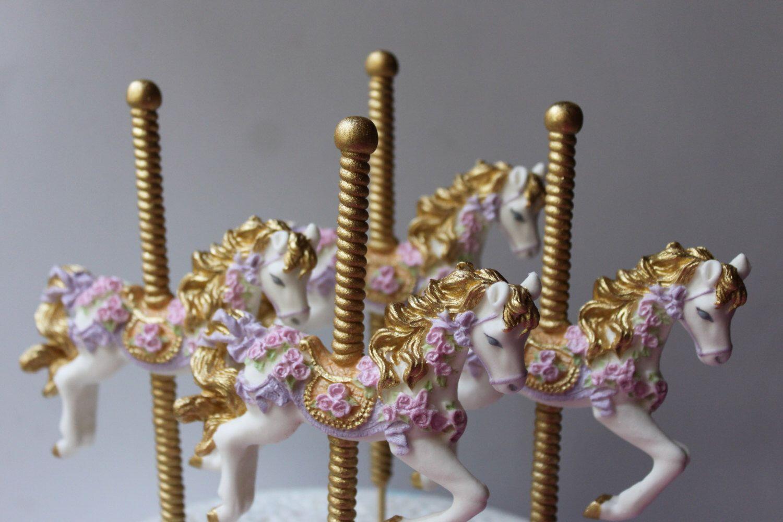 Fondant gum paste carousel horse cake topper party