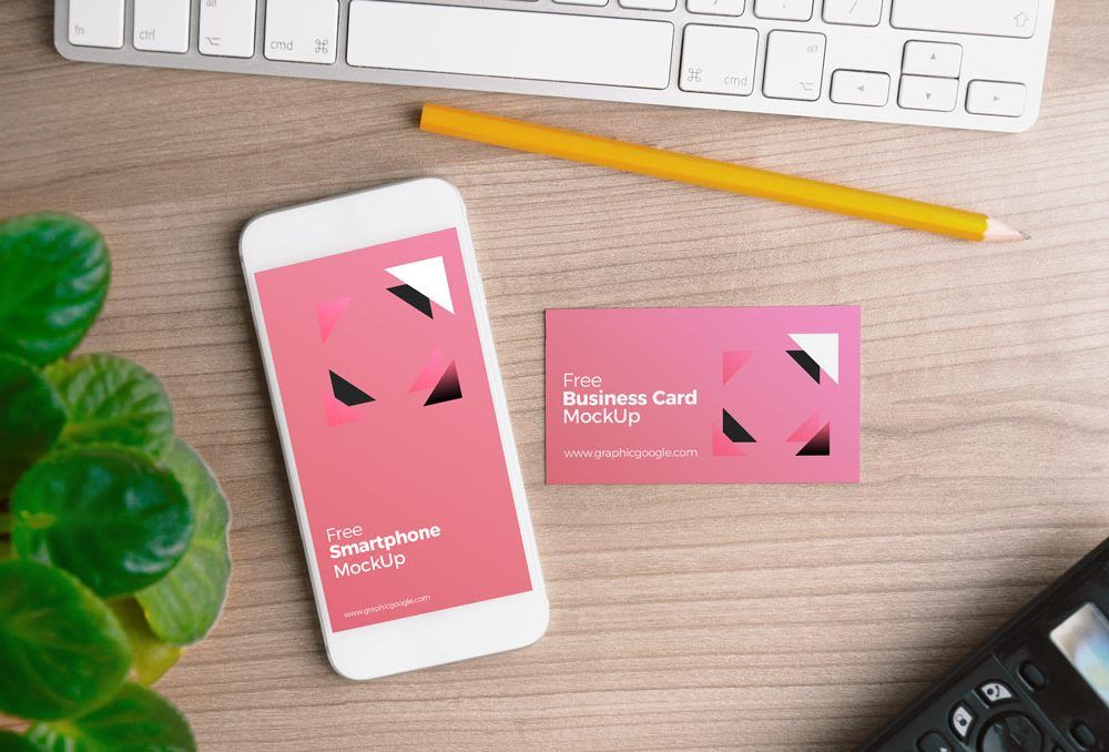 Free iphone with business card mockup psd template niftygraphic free iphone with business card mockup psd template niftygraphic reheart Gallery