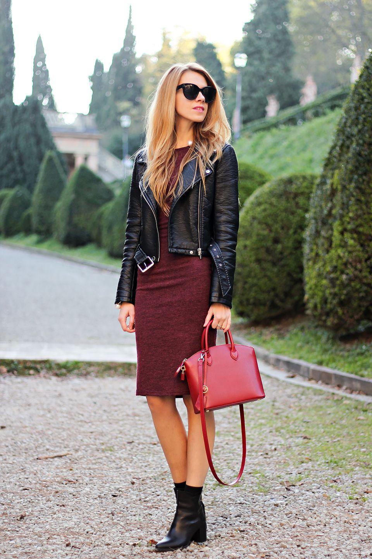 Bodycon Fashion Leather Jacket Dress Burgundy Bodycon Dress [ 1440 x 960 Pixel ]