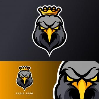 Black Eagle King Sport Esport Gaming Mascot Logo Template