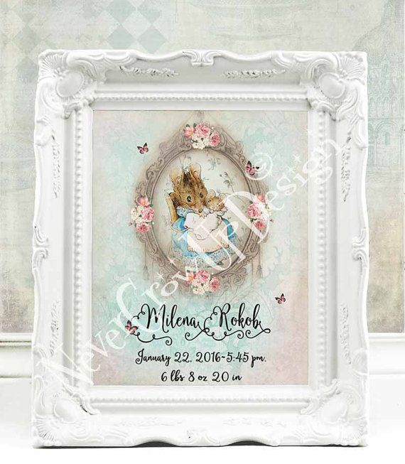 Baptism Gift Girl Christmas Ornament For Baby Girl Baptism: Beatrix Potter Nursery Personalized Baby By