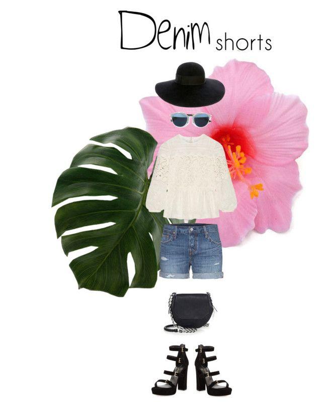 """Urban Boho"" by neni-nurinayah on Polyvore featuring Levi's, Burberry, Stuart Weitzman, rag & bone, Christian Dior, Eugenia Kim, jeanshorts, denimshorts and cutoffs"