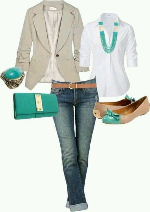 Teal n tan fashion